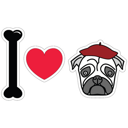 tacky: I love pug with beret sticker style