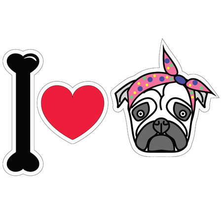 tacky: I love pug female pug with tie scarf sticker style