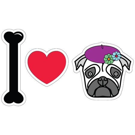 tacky: I love pug female with beret and flowers Illustration