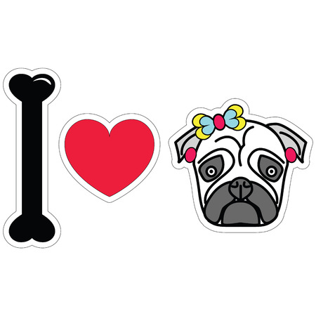 tacky: I love pug female pug with earnings and a bow sticker style Illustration