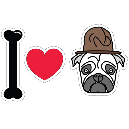 tacky: I love pug with old fashion military style Illustration