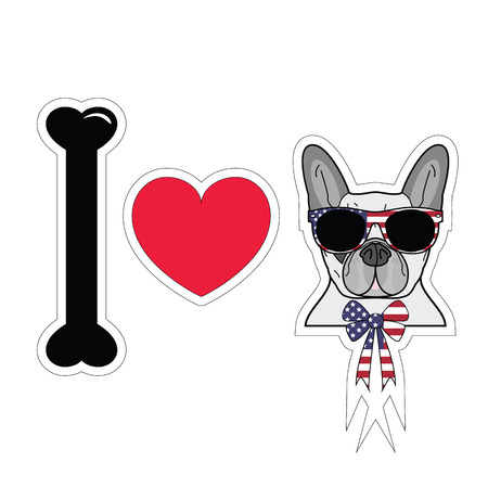 I love french bulldog hipster  with american symbols