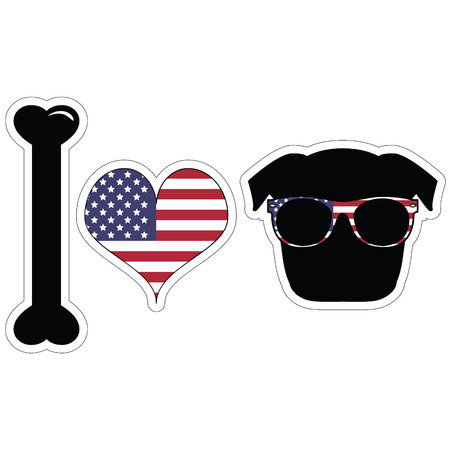 tacky: I love pugs with american symbols with black shape dog
