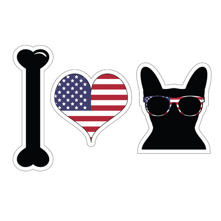 I love french bulldog with american symbols with black shape of a dog 向量圖像