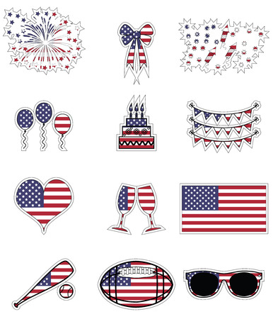 champagne celebration: American symbols celebration and symbols presented on the American flag background in  stickers style