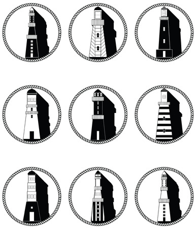 ring light: Nautical elements I icons in knotted circle including  boat bell boat oars rudder vintage diving mask life ring light house sea shells and anchor in black and white