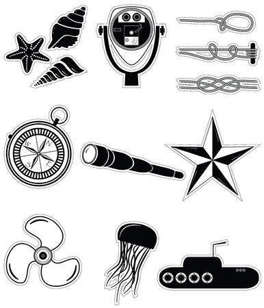 Nautical elements 2 including  sea shells. Star fish beach telescope nautical knots telescope star jelly fish submarine vintage compass and boat engine element in black and white Vector