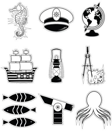 compas de dibujo: Elementos náuticos 3 incluyendo capitanes pulpo seahorse nave sombrero de dibujo brújula mapa del tesoro estilo náutico telescopio pez globo lámpara de playa Vectores