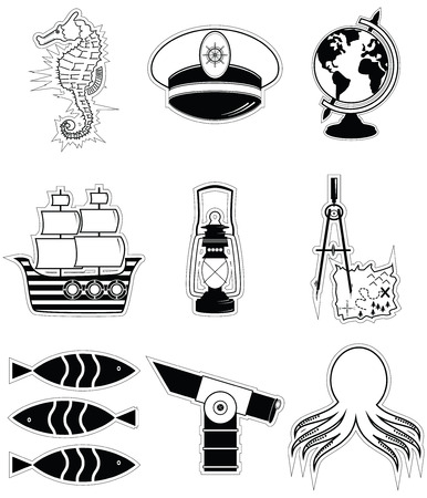 drawing compass: Nautical elements 3 including   seahorse octopus captains hat  ship drawing compass treasure map nautical style lamp fish globe beach telescope