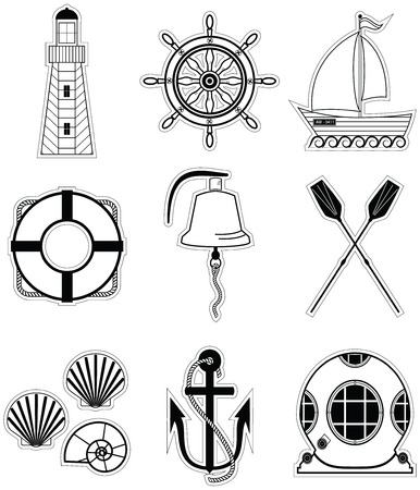 sea shells: Nautical elements  1 including  boat bell boat oars rudder vintage diving mask life ring light house sea shells and anchor Illustration