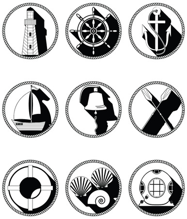 Nautical elements I icons in knotted circle including  boat bell boat oars rudder vintage diving mask life ring light house sea shells and anchor in black and white design Vettoriali