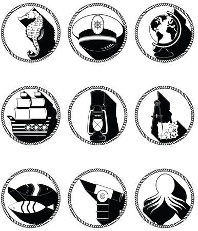 compas de dibujo: Elementos náuticos III iconos en círculo anudada incluyendo capitanes pulpo seahorse nave sombrero de dibujo brújula mapa del tesoro estilo náutico peces lámpara globo playa telescopio Vectores