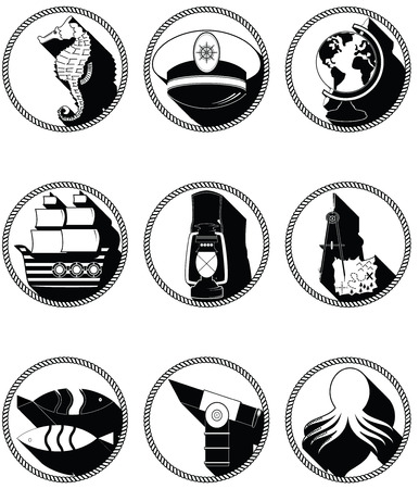 Nautical elements III icons in knotted circle including seahorse octopus captains hat  ship drawing compass treasure map nautical style lamp fish globe beach telescope Illustration