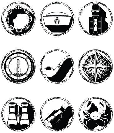 knotted: Nautical elements IV icons in knotted circle including sailors hat navy chain  pipe message in the mottle crab rose winds rudder anchor light house boat style windows waves lantern and binoculars Illustration