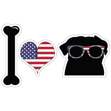 tacky: I love pugs in black with american symbols