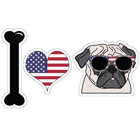 I love pugs in color with american symbols Reklamní fotografie - 40623591