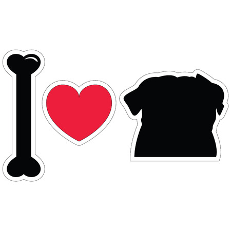 I love pugs in black icon Çizim
