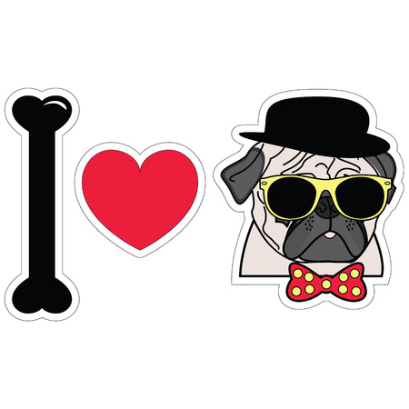 sun glasses: I love pugs hipster  with tie bow with dots sun glasses and hat