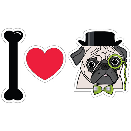 I love pugs with monocle tie bow and hat
