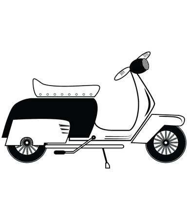 exciting: Vintage scooter type 1 in black and white on white background