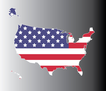 stated: United states map on the national flag element background 1