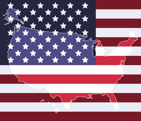 United states map on the national flag element background 1 Vector