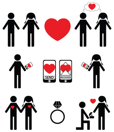 falling in love: Falling in love and engagement icons Illustration