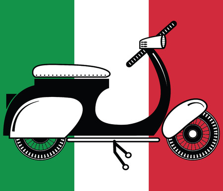 exciting: Vintage scooter type 2 on italian flag background Illustration