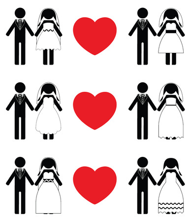 vows: groom and bride icon sets Illustration
