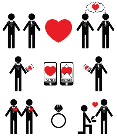 man falling: Gay man falling in love and engagement icons set