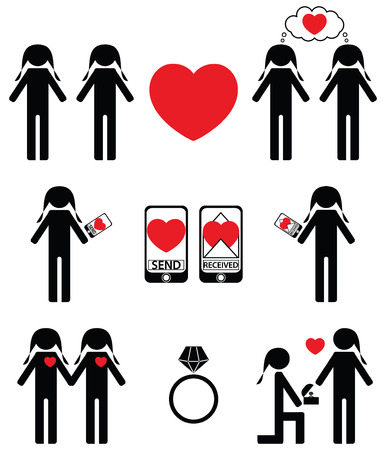 gay love: Gay women  falling in love and engagement icons set