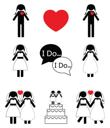 Gay woman wedding icons set