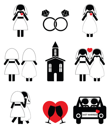 vows: Gay woman wedding 2 icons set Illustration