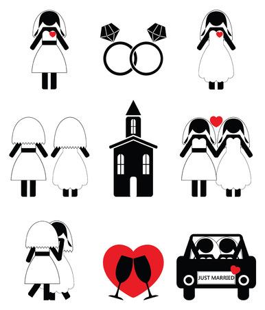 Gay woman wedding 2 icons set Illustration