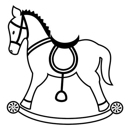 Rocking horse plain in black and white Illustration