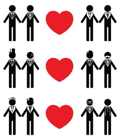 Gay man grooms icon set