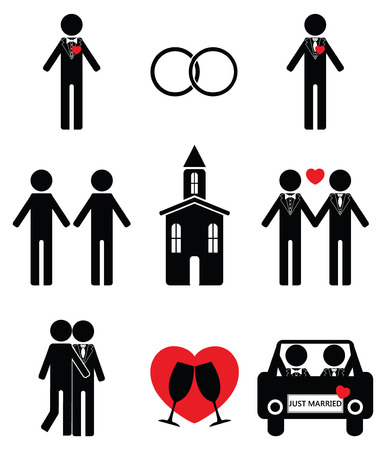 just married: Gay man wedding icon set 2
