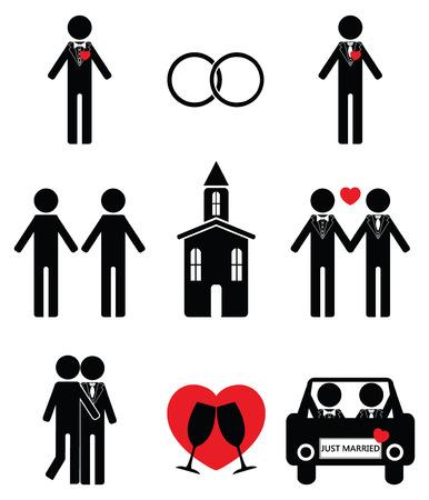 Gay man wedding icon set 2