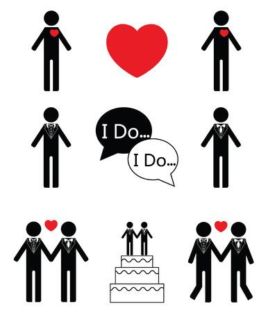 Gay man wedding icon set