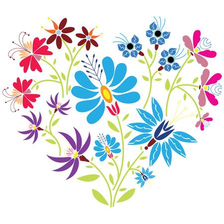 Ethnic folk floral pattern in heart shape on white background