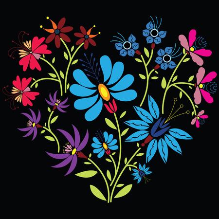 검은 배경에 심장 모양의 민족 민속 꽃 패턴 일러스트