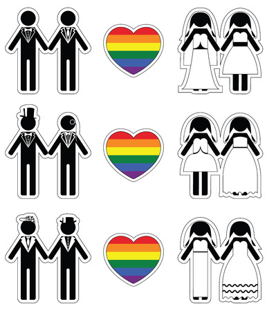 equal opportunity:   brides and   grooms icon 3 set with rainbow element Illustration