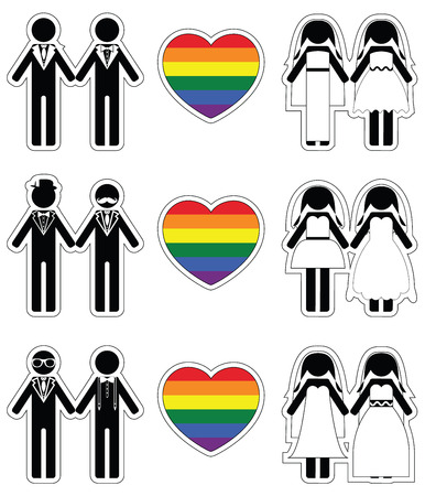 equal opportunity: Lesbian brides and gay grooms icon 2 set with rainbow element