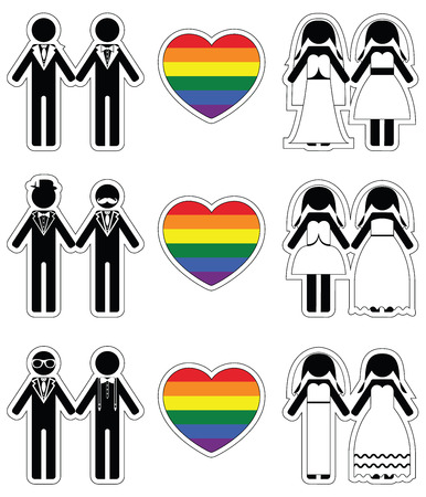 equal opportunity: Lesbian brides and gay grooms icon 1 set with rainbow element