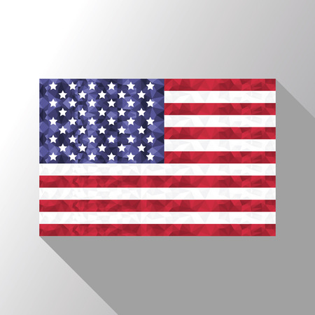 shadow effect: American flag in poly art  design with long shadow effect
