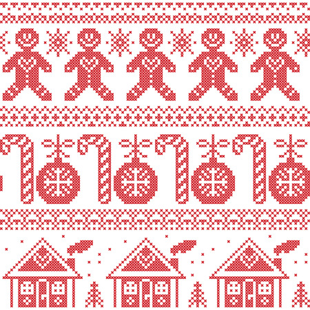 red cross: Scandinavian nordic seamless pattern with gingerbread man