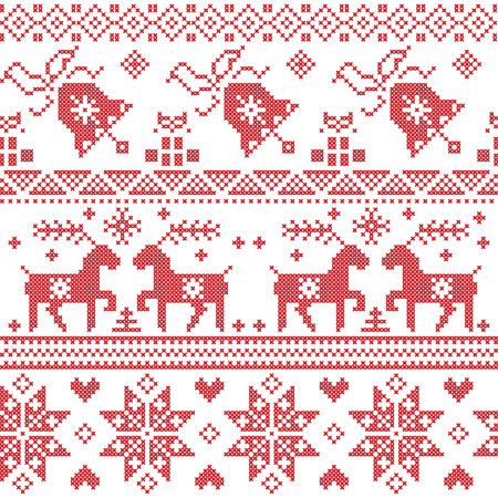 赤のクロス ステッチ パターンを含むトナカイ、雪の結晶、星、クリスマス ツリー、ベル、北欧クリスマス プレゼントします。  イラスト・ベクター素材