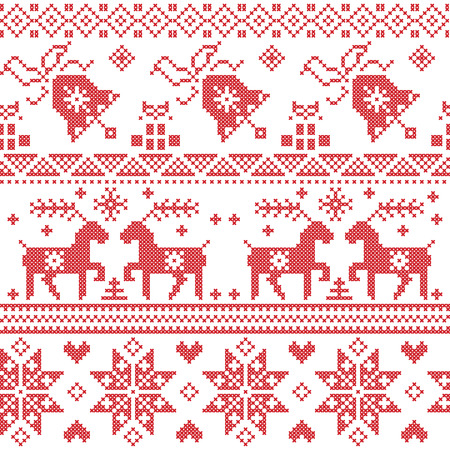 cross stitch: Christmas Nordic cross stitch pattern including reindeer, snowflake, star, Xmas tree, bell, presents in red