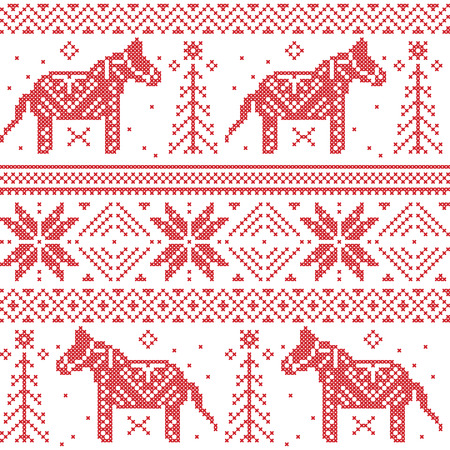 cruz roja: Patr�n n�rdico Navidad con estrellas, copos de nieve, caballos en punto de cruz