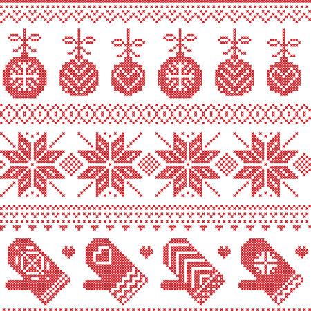 cruz roja: Patrón de Navidad nórdico escandinavo